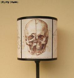 Da Vinci's Creed Skull lamp shade lampshade by Spooky Shades - Lighting,Halloween decor,steampunk decor,anatomy, Assassin's Creed, Da Vinci