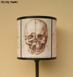 Da Vinci's Creed Skull lamp shade lampshade by Spooky Shades - Lighting,Halloween decor,steampunk decor,anatomy, Assassin's Creed, Da Vinci