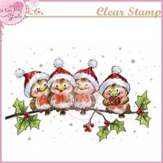 Wild Rose Studio - Robin on Branch Stamp This cute scene is sure to brighten up your Christmas cards! Four little robins, all perched in a row - but for one of them it looks like Christmas has come early… This stamp measures approximately 101 x Christmas Clipart, Vintage Christmas Cards, Christmas Pictures, Xmas Cards, Holiday Cards, Christmas Rock, Christmas Crafts, Christmas Decorations, Christmas Ornaments