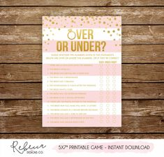 PRINTABLE OVER OR UNDER BRIDAL SHOWER GAME - INSTANT DOWNLOAD You will receive DIGITAL FILES ready to print. No physical item is sent. • MATCHING PARTY ITEMS (such as games, diaper raffles, etc) can be found here: