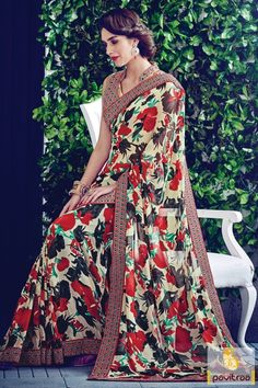 New look multi color georgette saree online shopping for all the modern women. Grab this flower prints casual wear formal saree in lowest price range #saree, #casualsaree more: http://www.pavitraa.in/store/georgette-saree/