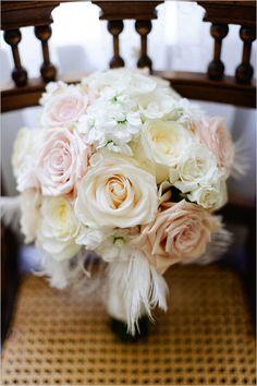 pastel wedding bouquet with feathers by Springwell Gardens #artdecowedding #DIYwedding #pastelbouquet http://www.weddingchicks.com/2014/01/13/diy-dapper-deco-wedding/