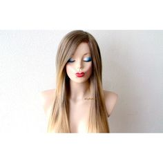 Ombre Wig Light Brown Blonde Wig Long Straight Hair Long Side Bangs... ($150) ❤ liked on Polyvore featuring beauty products, haircare, hair styling tools, bath & beauty, grey, hair care and wigs