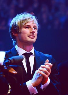 Bradley James... beaming with pride after Colin Morgan won the best actor award !!!!!