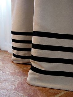 diy ribbon curtains with no sew tape - black stripe and natural linen drapes this would be cool inverted Too