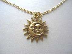 Gold Sun and Moon Pewter Charm Celestial Dainty Necklace, gold plated charm - Love & Friendship, Soulmate, Gift for her - Accessoires - Halskette Gold Plated Necklace, Dainty Necklace, Gold Necklace, Delicate Jewelry, Cute Jewelry, Jewelry Accessories, Gold Jewelry, Jewelry Necklaces, Diamond Necklaces