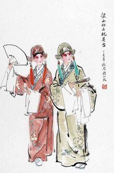 戏剧人物梁祝---穆小玫(设色纸本) Chinese Style, Chinese Art, Chinese Opera Mask, Cloud Tattoo, Water Art, Drawing Skills, Chinese Painting, Ink Painting, Drawing People