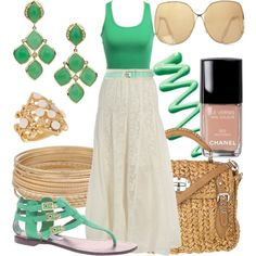 Today's outfit but with wedges ... Lime green tank + lace maxi - perfect summer casual work outfit  <3