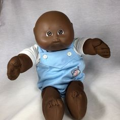 """Coleco Cabbage Patch Kid Black AA Bald Boy Doll CPK 1984 Elephant Romper 16"""" GUC #CabbagePatch #Dolls"""