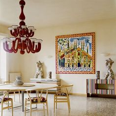 art, chandelier, chairs, table, everything!