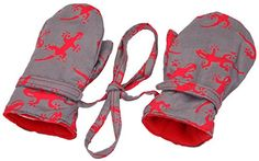 Baby toddler boy mittens with string & micro fleece lined interior, and comes in 3 other fun designs. The Velcro closure keeps mittens on snug, and the fun design will make everyone smile. Perfect for cold days in strollers, a car, or playing in the garden.