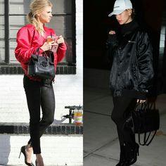 As combinações com jaquetas grandes e cintilantes da Charlotte McKinney e da Hailey Baldwin são muito fashion e estão super em alta!♥️ #charlottemckinney #haileybaldwin #creative #fashion #styles #boyfriend #bomberjackets