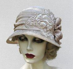 Elegant Vintage Inspired Summer Cloche Wedding Hat in Gold