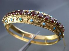 ANTIQUE WIDE 14CT GARNET & TURQUOISE 14KT Y GOLD FILIGREE VICTORIAN BANGLE #2230