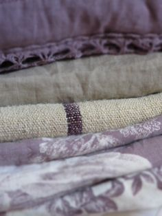 Purple toile with linen and grain sack. Love the mix of texture
