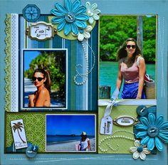 Bonjour à toutes, Une petite page avec des photos de vacances Soleil, ciel bleu .... le rêve !!!! et les papiers du kit de juillet de la Fée, et ses arabesques perles Kaiser Craft, j'ai utilisé en plus des portes étiquettes, du ruban, des boutons et des...