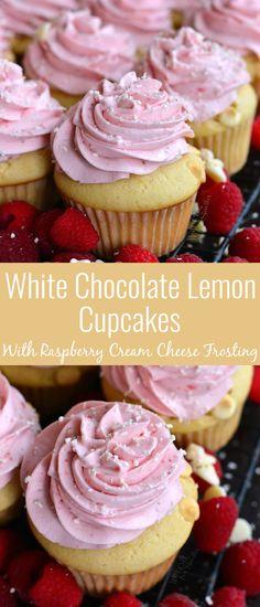 Cream Cheese Lemon Cookies, Raspberry Cream Cheese Frosting, Lemon Raspberry Cupcakes, Raspberry Recipes, Fun Baking Recipes, Sweet Recipes, Wedding Cupcake Recipes, Fun Desserts, Delicious Desserts