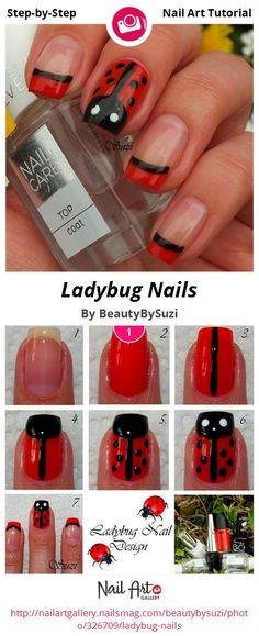 Ladybug Nails by BeautyBySuzi - Nail Art Gallery Step-by-Step Tutorials nailartgallery.nailsmag.com by Nails Magazine www.nailsmag.com #nailart