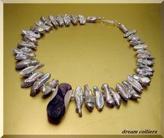 Perlenketten - bizarre Perlen mit Amethyst - ein Designerstück von Dream-Colliers bei DaWanda