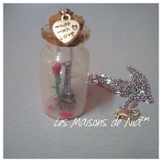 """Miniature necklace bottle """"La Vie en Rose"""" #lesmaisonsdenia"""