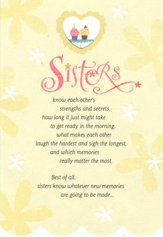 Sisters Know Birthday Card Holly Monroe Calligraphy