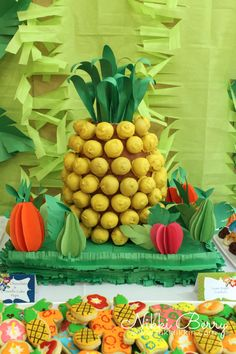 Luau Graduation Party with Pineapple Cake Pop Display