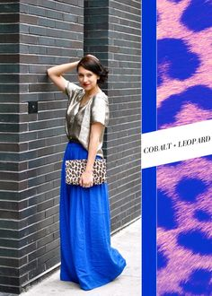 Cobalt + leopard…stunning! Especially in the form of a ball-length skirt and clutch.