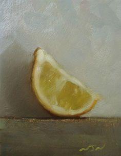 Original Oil Painting - Lemon Wedge - Miniature Still Life Art - Nelson