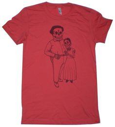 Frida Kahlo and Diego Rivera (El Dia de los Muertos style) t-shirt.
