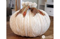 Recycling Sweaters. Make a sweater pumpkin. Cut off the body, turn it inside out, gather one end together w/ rubber band, turn it right side out, stuff it, gather TOP of body with another rubber band, tie a piece of ribbon around it.  Voila!  Sweater pumpkin.