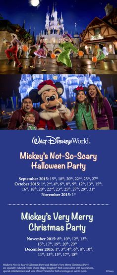 Tickets are now on sale for Mickey's Not-So-Scary Halloween Party and Mickey's Very Merry Christmas Party! Here are the 2015 dates for both of these Magic Kingdom special events.