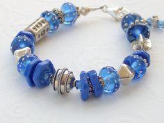 Lampwork Glass Bead Sterling Silver Bracelet  Blue by #stoutdg2, $79.00 #jewelryonetsy #jetteam