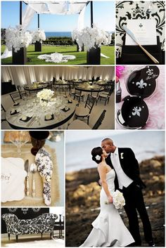 Fleur-de-lis themed wedding details. I love the floral in the first image!