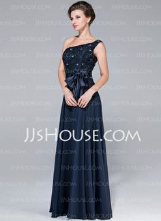 A-Line/Princess One-Shoulder Floor-Length Chiffon Charmeuse Mother of the Bride Dress With Lace Beading (017025451)