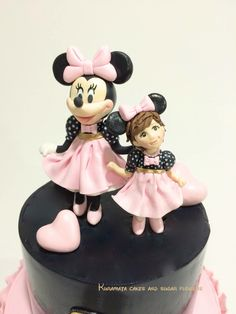 Minnie Mouse Fondant cake topper and little Minnie Mouse girl cake topper