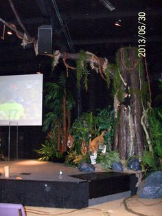 """Life Changing Realities Fellowship Church """"Welcome to the Jungle"""" series. Our paper mach rocks and monstrous tree. 2013"""