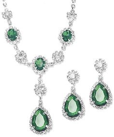 Faux Emerald Crystal Accent and Clear Rhinestone  Set.More Colors