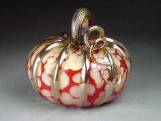 Hand Blown Glass Pumpkin Ivory-Crimson Lines.