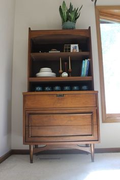 mid century modern china cabinet hutch bookcase tv stand