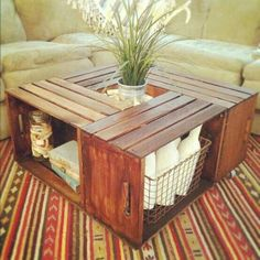 Coffee table made from crates! Crates sold at Michael's. Outside coffee table, Outdoor Supplies in crates (sidewalk chalk, lawn yahtzee, stuff that COULD get wet) Home Projects, Home Crafts, Diy Home Decor, Room Decor, Unique Home Decor, Pallet Projects, Coffee Table Made From Crates, Coffee Tables, Wooden Crate Coffee Table