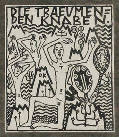 OSKAR KOKOSCHKA Die_trauemenden_ Knaben 1908. Strichätzung auf Papier, 10,3 x 8,7 cm (Platte)