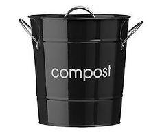 Poubelle à compost JOI acier galvanisé, noir - H21