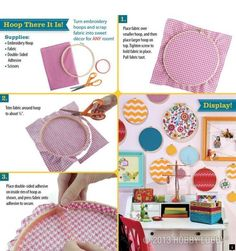 """Think outside the box (or circle) and design wall art made out of embroidery hoops! Perfect for my """"Dots on Chocolate"""" theme! Embroidery Hoop Crafts, Hand Embroidery, Craft Projects, Sewing Projects, Diy And Crafts, Arts And Crafts, Home And Deco, Wall Art Designs, Sewing Crafts"""