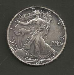 Linda Moeda de 1 Onça de Prata dos Estados Unidos 1991 com 31g e 4cm