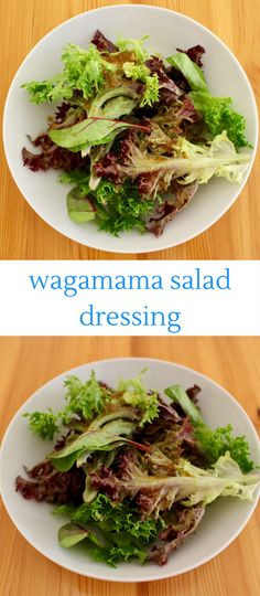 This Wagamama-inspired Salad dressing tastes just like the one from the restaurant: salty, sweet, gingery and garlicky and transforms boring salad leaves! Vegan Japanese Food, Japanese Salad, Japanese Recipes, Wagamama Recipe, Caesar Salat, Caprese Salat, Vegetarian Recipes, Healthy Recipes, Salad Dressing Recipes