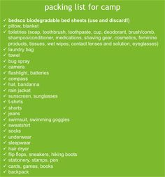 boy scout camping packing list