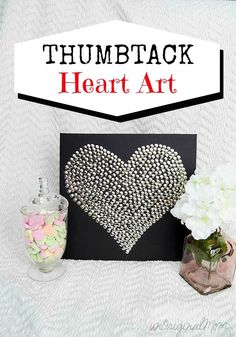 Easy, cheap, simple, and pretty - thumbtack heart art! Great for a Valentine's mantel or shelf display.