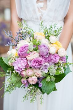 Pastel purple and yellow wedding bouquet Modern Wedding Flowers, Purple Wedding, Spring Wedding, Bridesmaid Bouquet, Wedding Bouquets, Garden Wedding Inspiration, Watercolor Wedding, Unique Weddings, Beautiful Flowers