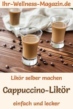 Make cappuccino liqueur yourself: Simple recipe for a homemade coffee cream liqueur. It is prepared with milk, cream, vanilla, chocolate and brandy, i Cream Liqueur, Coffee Cream, Cappuccino Coffee, Food Trends, Coffee Quotes, Summer Desserts, Summer Drinks, Chocolate, Cocktail Recipes