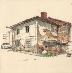 https://flic.kr/p/nimV69 | Old house in Guardo | Life sketch. Watercolour and marker.